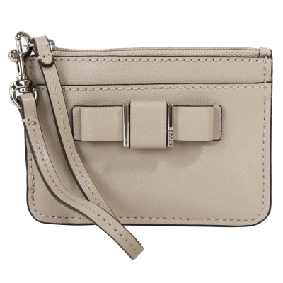 COACH-蝴蝶結防刮皮革鑰匙-卡夾零錢包-淺駝