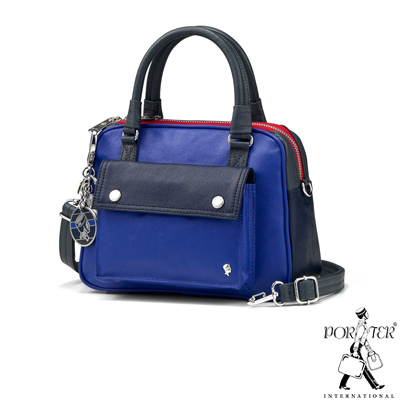 PORTER-歡樂視覺JOLLY迷你輕巧二用手提包-藍紫-灰