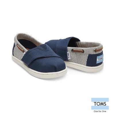 TOMS 抽繩條紋拼接懶人鞋-幼童款