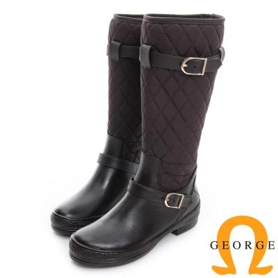 GEORGE 喬治-雙皮帶菱格紋高筒雨靴-咖啡色
