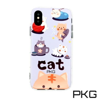PKG Apple IPhone X 彩繪空壓氣囊保護殼浮雕彩繪-日常貓