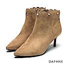 達芙妮DAPHNE 短靴-絨布花邊珠飾鉚釘高跟踝靴-杏