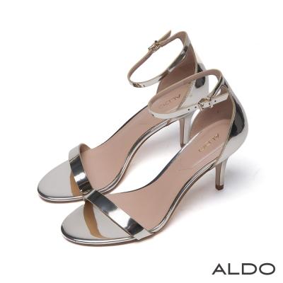 ALDO原色一字露趾金屬釦繫踝跟鞋-名媛金色
