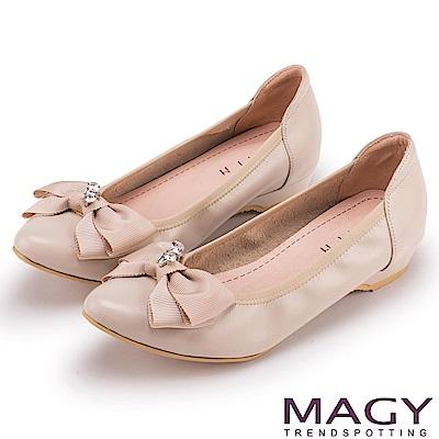 ORIN 氣質甜美風 織帶蝴蝶結牛皮尖頭低跟鞋-膚色
