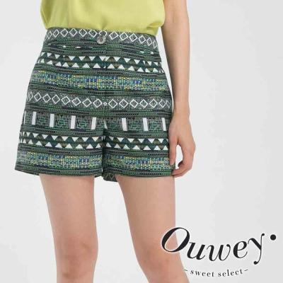 OUWEY歐薇-刺繡風民俗織紋短褲