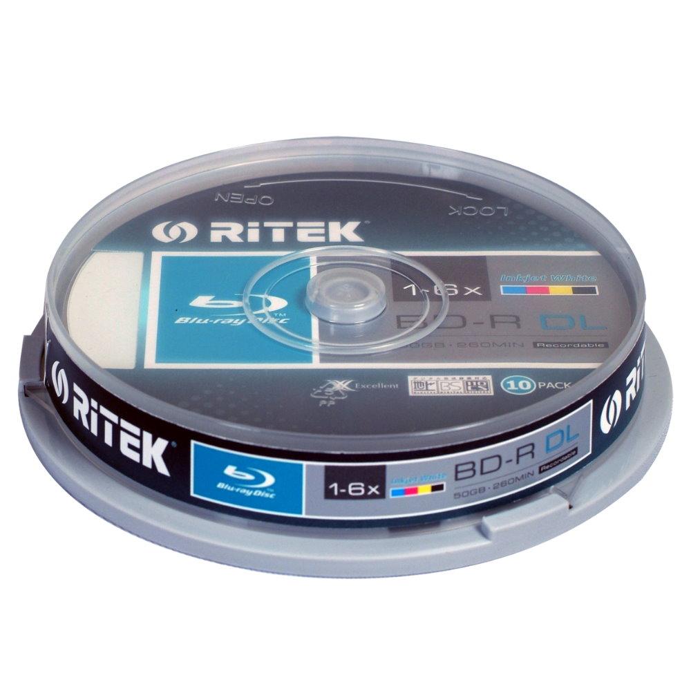 錸德 Ritek 藍光 X版 BD-R 6X DL 50GB 珍珠白滿版可印片 (50片)