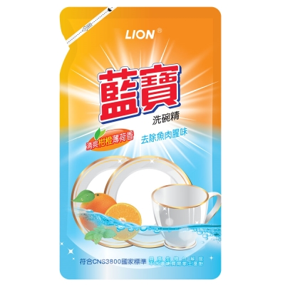 LION藍寶-洗碗精補充包800g-柑橙香