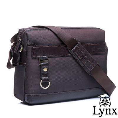 Lynx - 山貓經典極簡風格橫式真皮側背包-大-質感咖