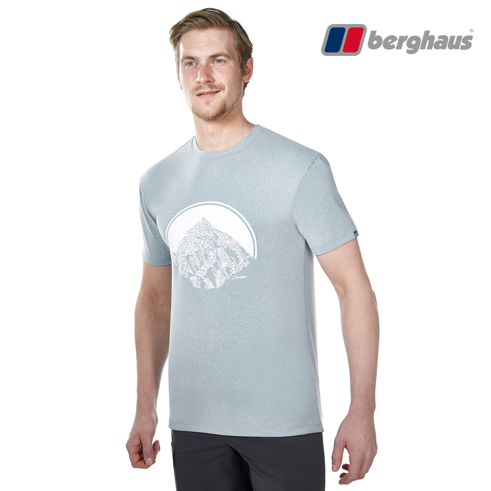 【Berghaus貝豪斯】男款銀離子除臭抗菌吸濕快乾抗UV上衣S04M89淺灰