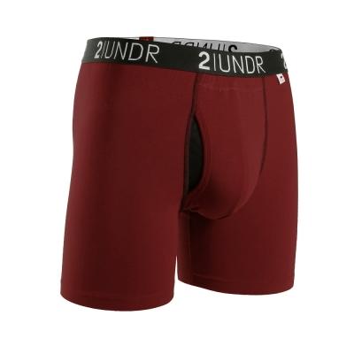 2UNDR Swing Shift 莫代爾吸排四角內褲(6吋)-酒紅色