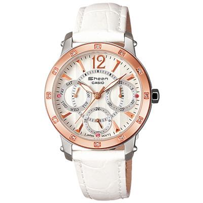 CASIO 個性三眼時尚指針皮帶錶(SHN-3012GL-7A)-白x玫瑰金/33mm