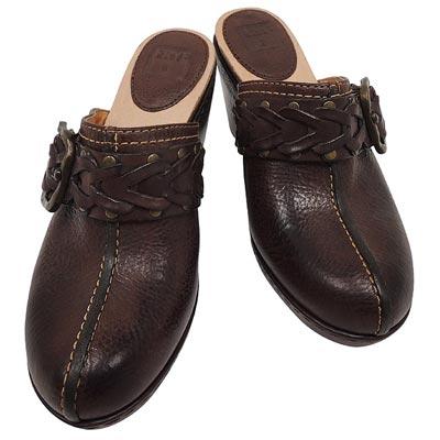 FRYE 真皮寬版粗跟涼鞋-6號(巧克力色)