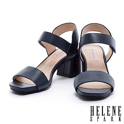 涼鞋 HELENE SPARK 簡約典雅寬一字帶純色羊皮粗跟涼鞋-藍