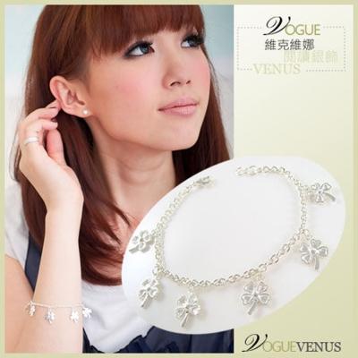 【維克維娜】甜蜜約定。6朵愛心幸運草 925純銀手鍊