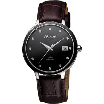 Standel 詩丹麗真鑽陶瓷框時尚腕錶-黑x/咖啡錶帶/38mm