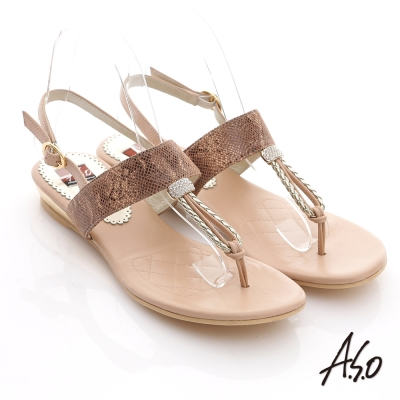 A.S.O 軟芯系列  動物紋水鑽T字減壓涼鞋 卡其