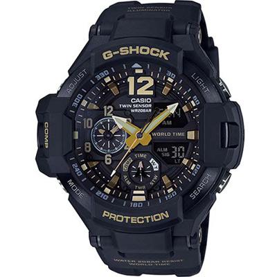 G-SHOCK-航空飛行儀表概念數位羅盤運動錶-黑