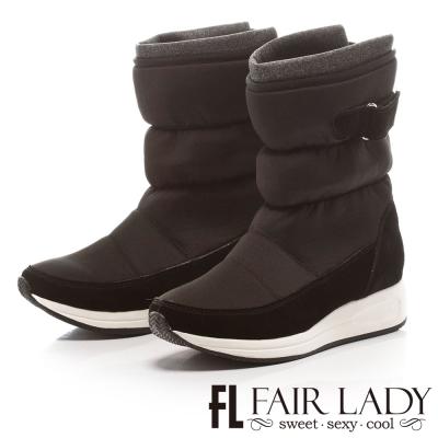 Fair Lady 摩登力量舖棉撞色太空靴 黑
