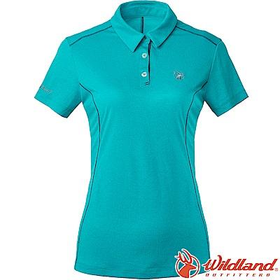 Wildland 荒野 0A61629-65湖水藍 女雙色POLO領排汗上衣