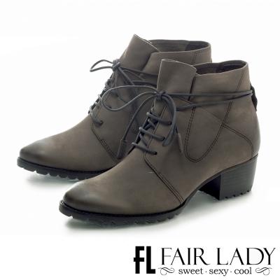 Fair Lady 時尚率性繫帶方型鞋跟短靴 灰
