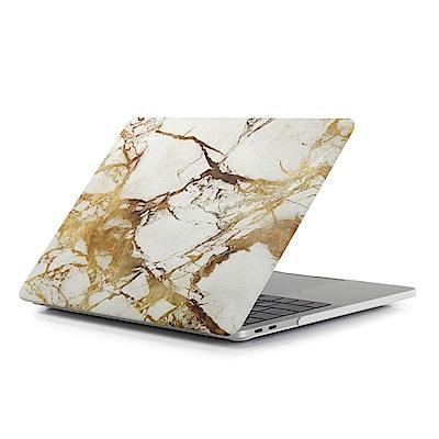 For MacBook Air 13.3吋筆電水貼殼-黃白大理石紋(A1466/A1369