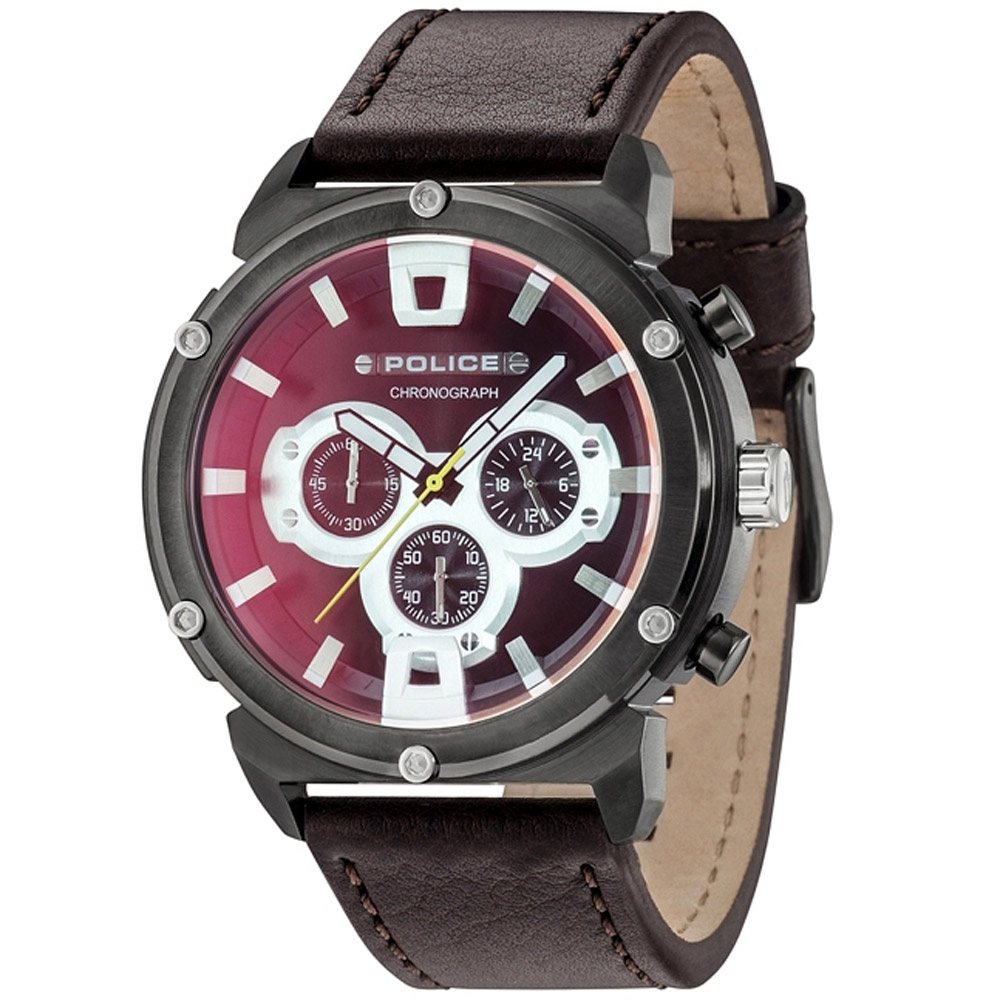 POLICE 強悍戰警三眼計時手錶-深紅X咖啡 /50mm