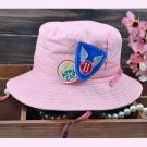 韓版-牛仔漁夫帽-粉紅色款