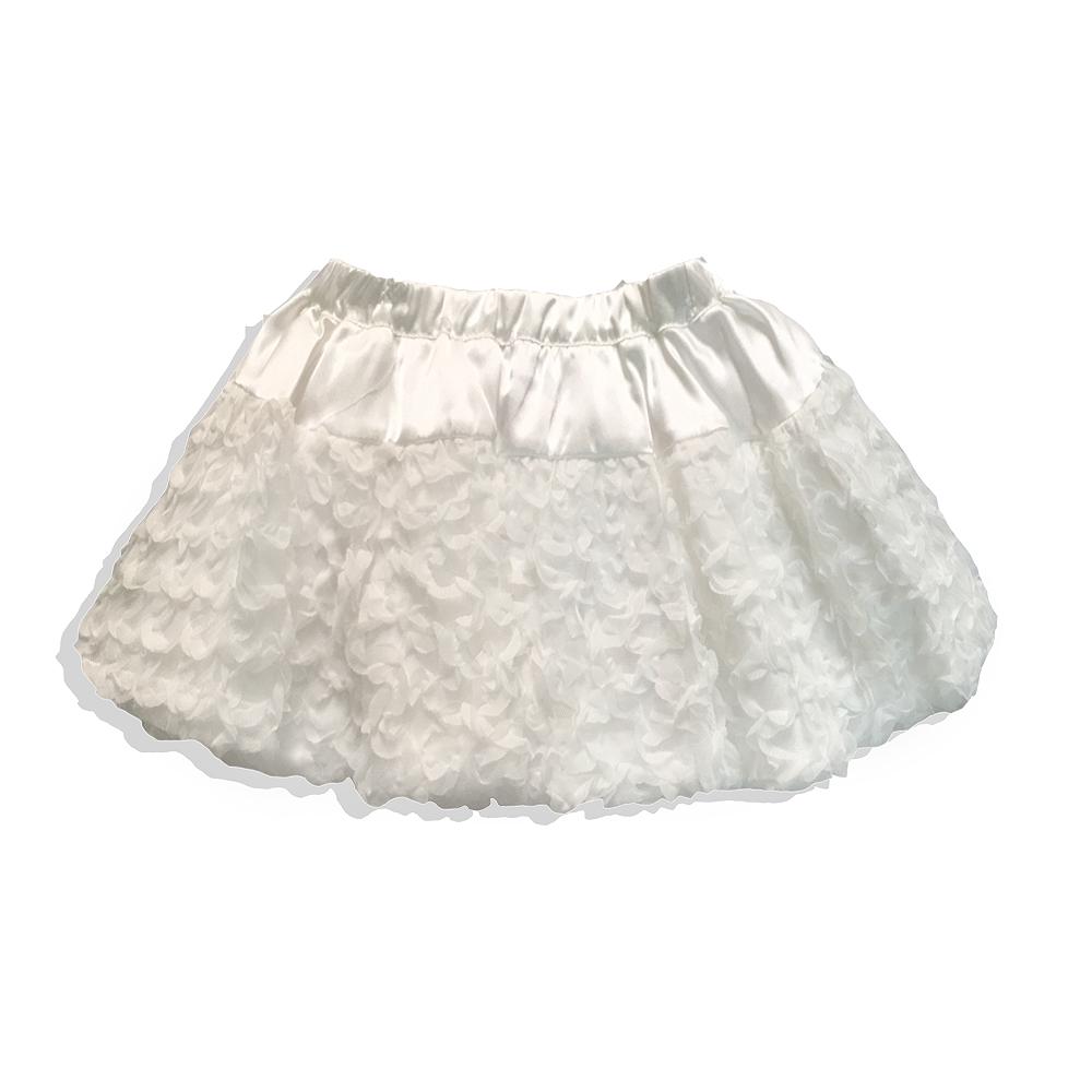 夢幻菱格雪紡緞面蓬蓬裙*白
