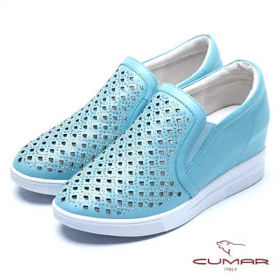 CUMAR舒適真皮 水鑽雕花內增高休閒鞋-藍