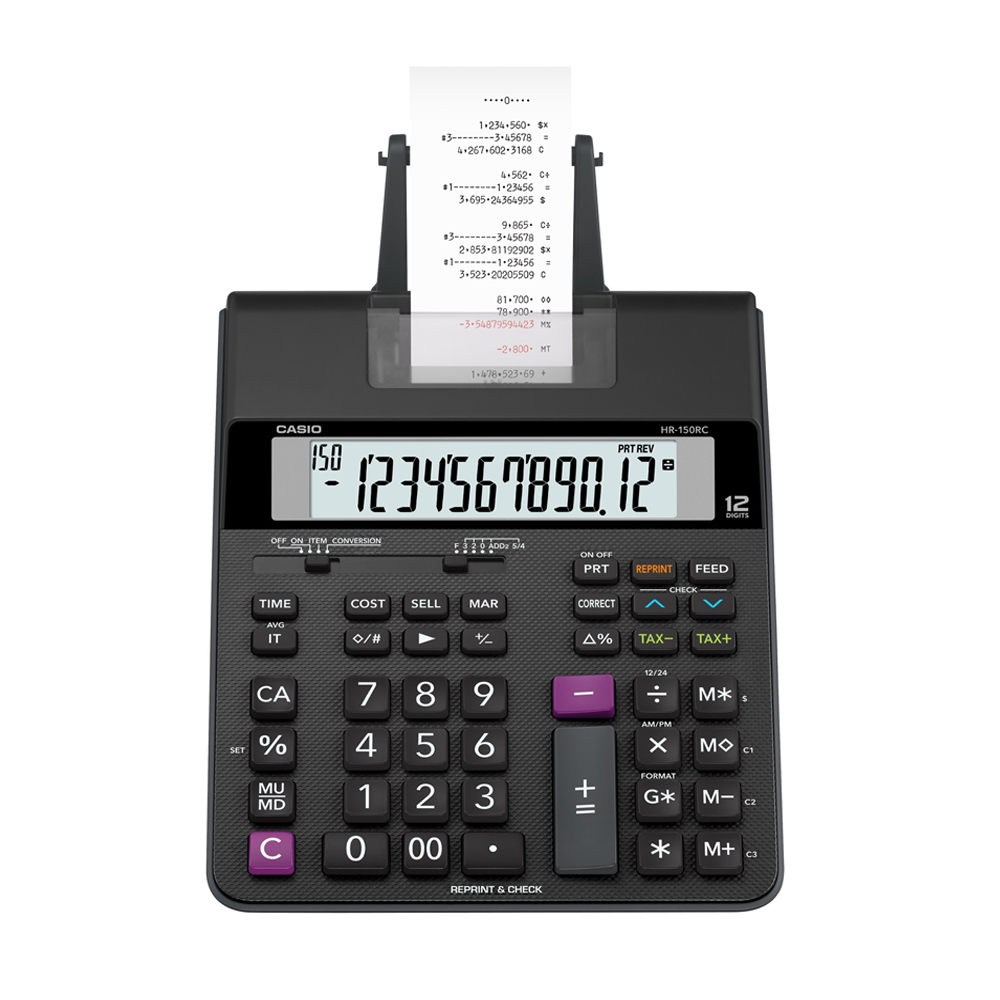 CASIO 12位數大螢幕專用事務打印紙捲機-(HR-150RC)
