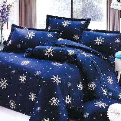 Carolan-雪花-藍 台灣製雙人五件式純棉床罩組