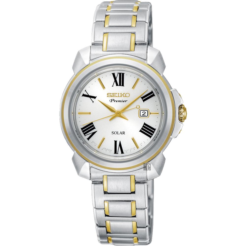 SEIKO精工 Premier 羅馬太陽能女錶(SUT346J1)-珍珠貝x雙色/32mm