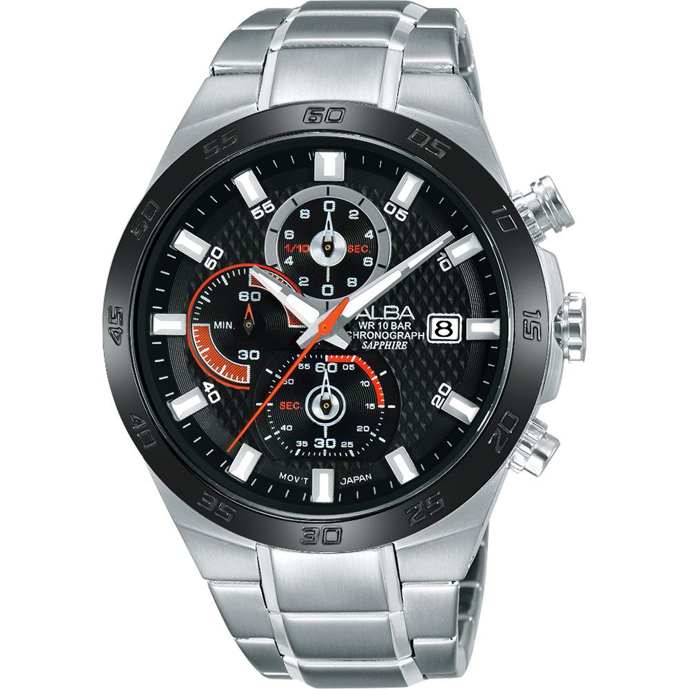 ALBA ACTIVE 活力玩酷型男計時腕錶(AM3337X1)-黑/44mm