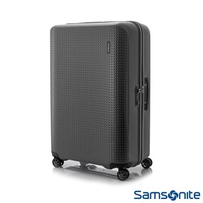 Samsonite新秀麗 25吋Pixelon圓弧立體圓點PC硬殼拉鍊行李箱(防刮消光黑)