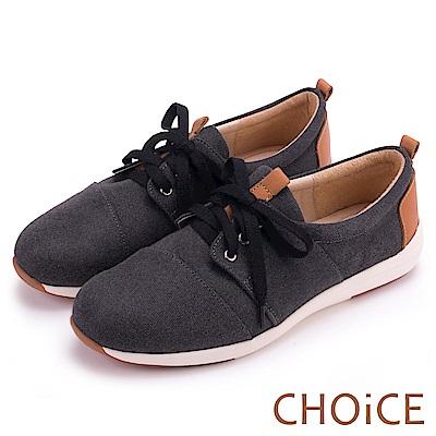 CHOiCE 率性休閒 牛仔布拼接牛皮綁帶休閒鞋-黑色