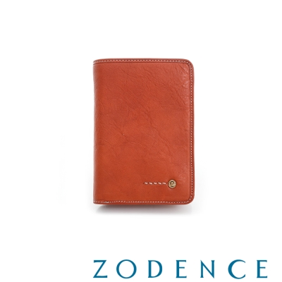 ZODENCE MAN 義大利植鞣革系列金LOGO設計直立零錢短夾 橘紅