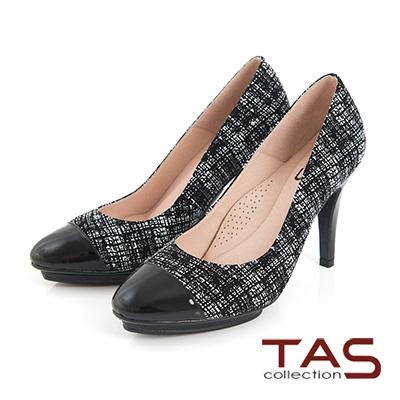 TAS-牛皮拼接防水台高跟鞋-漆皮黑