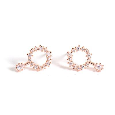 微醺禮物 正韓 鍍K金針  小圓鑽圍成圈 圓鋯垂墜 鏤空 簡約精緻可愛春天 耳針 耳環