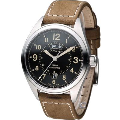 HAMILTON 漢米爾頓Khaki 陸戰雙曆機械腕錶-軍綠/42mm