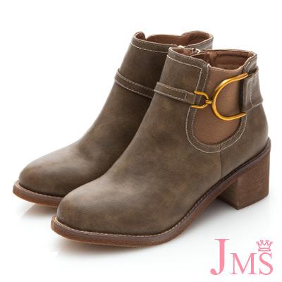 JMS-騎士風金屬D字馬蹄扣飾帥氣短靴-卡其色