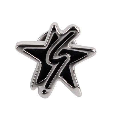 agnes b. b logo&星星穿式耳環-銀邊黑色(單隻)