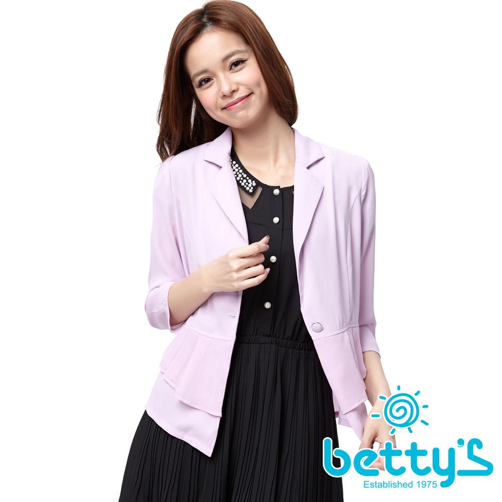betty's貝蒂思 深V領單釦抓摺雪紡外套(粉紫)