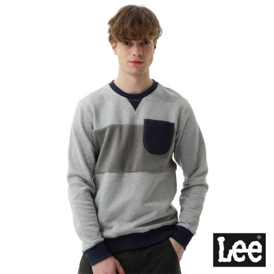 Lee 長袖厚T圓領絨毛及棉布拼接設計-男款-麻灰