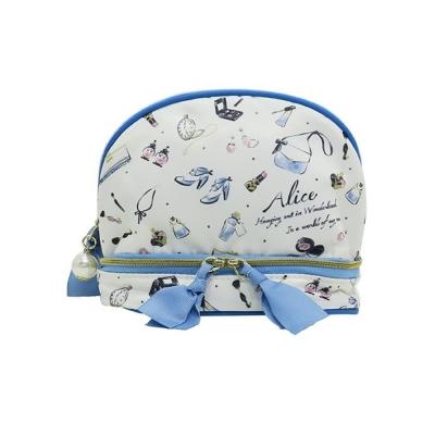 KAMIO 迪士尼公主水墨彩妝系列防潑水布面雙層化妝包(愛麗絲)