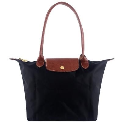 Longchamp 長背帶折疊水餃包(黑色/小)
