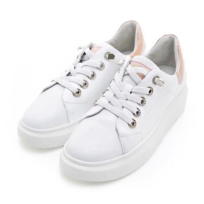 PLAYBOY流行印象 水鑽鞋帶釦真皮休閒鞋-白金