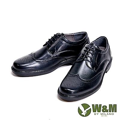 W&M 氣墊舒適精緻菱形壓紋 男皮鞋-黑