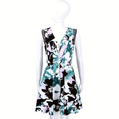 MAX MARA-SPORTMAX 花卉圖騰拉鍊設計無袖洋裝
