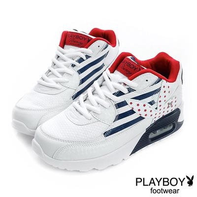 PLAYBOY-美式率性-美國旗兔頭氣墊休閒鞋-白紅-女