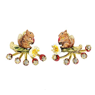 Les Nereides 動物花園系列 小花松鼠漿果耳環 耳針式
